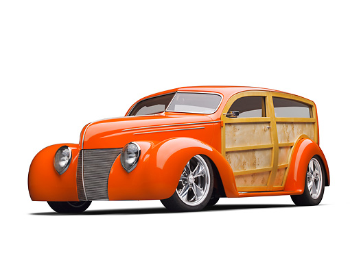 AUT 26 RK3319 01 © Kimball Stock 1939 Ford Woodie Orange 3/4 Front View On White Seamless