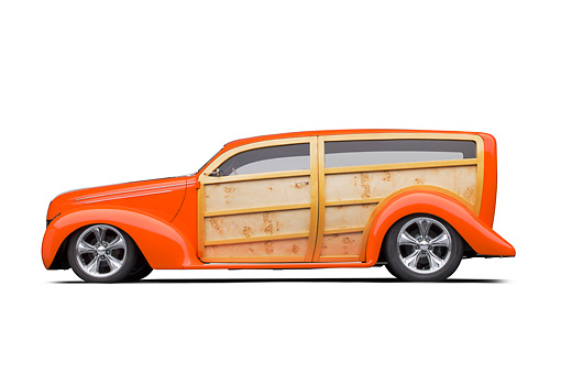 AUT 26 RK3320 01 © Kimball Stock 1939 Ford Woodie Orange Profile View On White Seamless