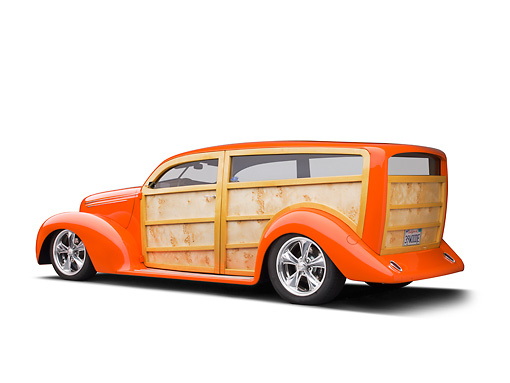 AUT 26 RK3321 01 © Kimball Stock 1939 Ford Woodie Orange 3/4 Rear View On White Seamless