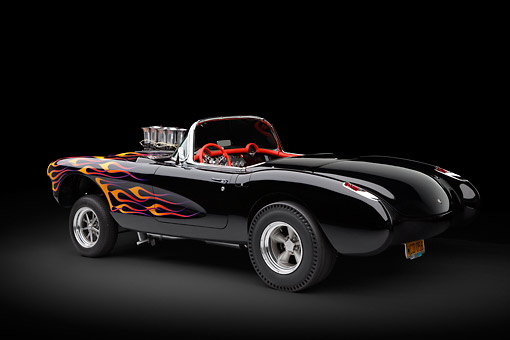 AUT 26 RK3346 01 © Kimball Stock 1956 Corvette Hardtop Gasser Black With Flames 3/4 Rear View In Studio