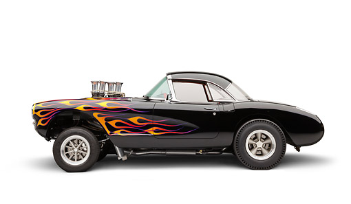 AUT 26 RK3347 01 © Kimball Stock 1956 Corvette Hardtop Gasser Black With Flames Profile View On White Seamless
