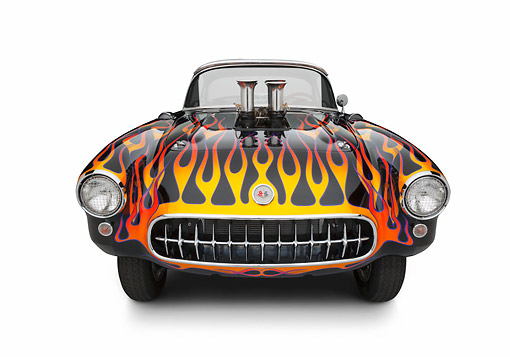 AUT 26 RK3350 01 © Kimball Stock 1956 Corvette Hardtop Gasser Black With Flames Front View On White Seamless