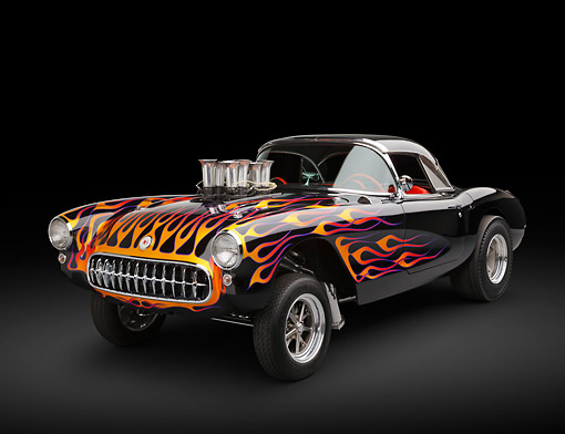 AUT 26 RK3359 01 © Kimball Stock 1956 Corvette Hardtop Gasser Black With Flames 3/4 Front View In Studio