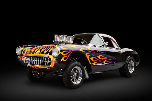AUT 26 RK3360 01 © Kimball Stock 1956 Corvette Hardtop Gasser Black With Flames 3/4 Front View In Studio