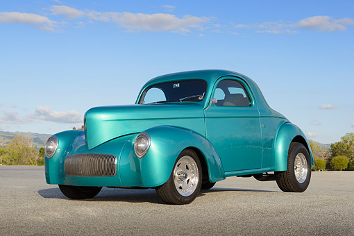AUT 26 RK3381 01 © Kimball Stock 1941 Willy's Coupe Teal 3/4 Front View On Pavement By Trees