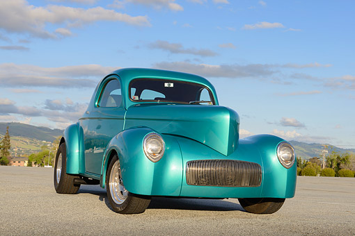 AUT 26 RK3382 01 © Kimball Stock 1941 Willy's Coupe Teal 3/4 Front View On Pavement By Trees