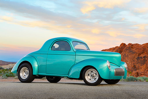 AUT 26 RK3383 01 © Kimball Stock 1941 Willy's Coupe Teal 3/4 Side View On Pavement By Trees