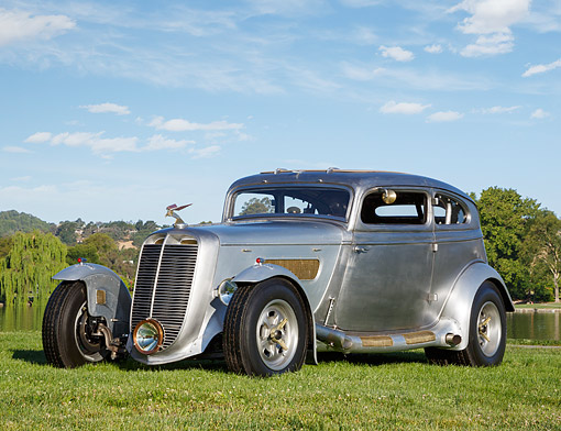 AUT 26 RK3397 01 © Kimball Stock 1933 Moal Falcon Hot Rod Silver 3/4 Front View On Grass By Pond