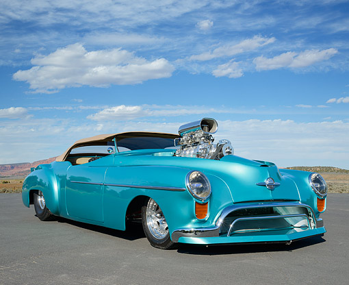 AUT 26 RK3410 01 © Kimball Stock 1948 Oldsmobile Convertible Hot Rod Blue-Green 3/4 Front View On Pavement