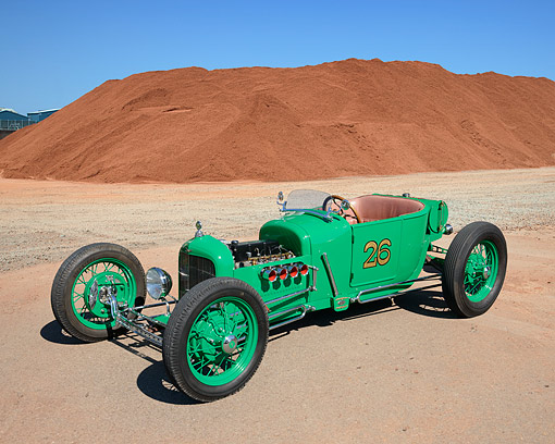AUT 26 RK3415 01 © Kimball Stock 1926 Ford Phaeton Hot Rod Green 3/4 Front View On Gravel By Red Dirt