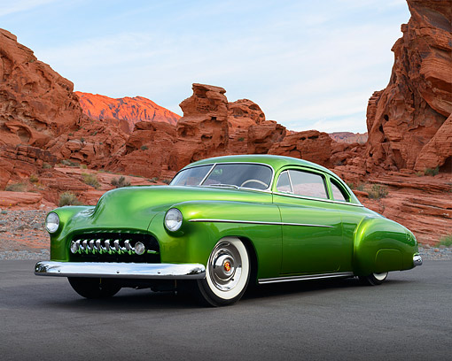 AUT 26 RK3463 01 © Kimball Stock 1949 Chevrolet Sport Coupe Green 3/4 Front View On Pavement By Red Rock
