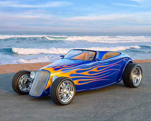 AUT 26 RK3471 01 © Kimball Stock 1933 Ford Alloway Roadster Blue With Flames 3/4 Front View On Pavement By Beach