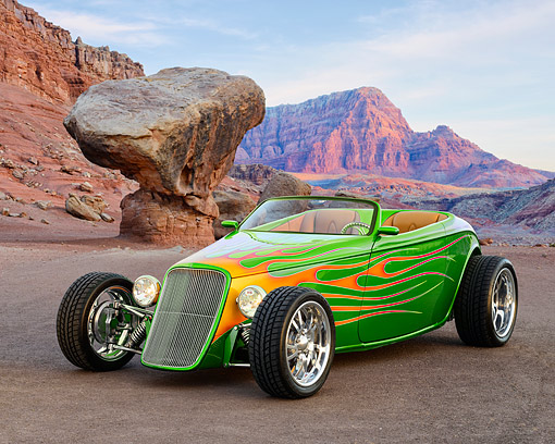 AUT 26 RK3472 01 © Kimball Stock 1933 Ford Alloway Roadster Green With Flames 3/4 Front View On Dirt In Desert