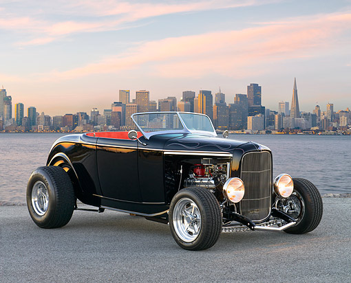 AUT 26 RK3474 01 © Kimball Stock 1932 Ford Roadster Black 3/4 Front View On Pavement By San Francisco Bay At Dusk