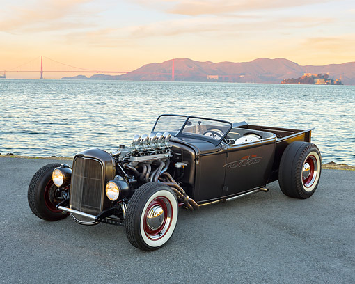 AUT 26 RK3485 01 © Kimball Stock 1931 Ford Roadster Pickup Black Side 3/4 Front View By Ocean