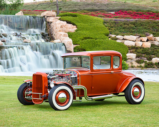AUT 26 RK3510 01 © Kimball Stock 1931 Ford 5-Window Coupe Hot Rod 3/4 Front View By Waterfall