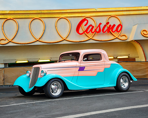 AUT 26 RK3534 01 © Kimball Stock 1934 Ford Coupe Hot Rod Salmon And Teal 3/4 Front View By Building