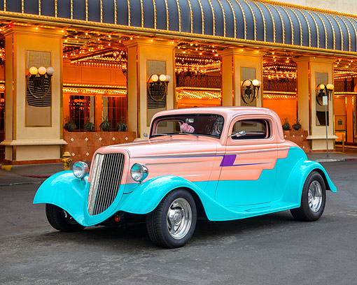 AUT 26 RK3535 01 © Kimball Stock 1934 Ford Coupe Hot Rod Salmon And Teal 3/4 Front View By Building