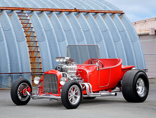AUT 26 RK3548 01 © Kimball Stock 1923 Ford T-Bucket Hot Rod Red 3/4 Front View By Building
