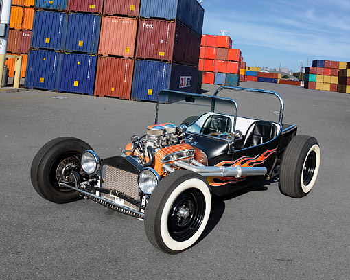 AUT 26 RK3572 01 © Kimball Stock 1930's Hot Rod Black With Flames 3/4 Front View By Shipping Crates