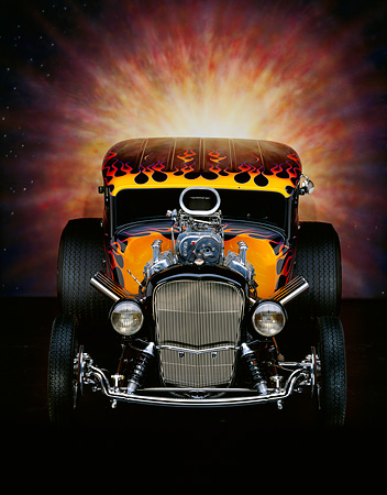 AUT 26 RK0001 07 © Kimball Stock 1932 Ford Tudor Black With Flames Head On Shot With Sunburst Studio