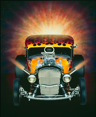 AUT 26 RK0001 15 © Kimball Stock 1932 Ford Tudor Black With Flames Head On Shot With Sunburst Studio