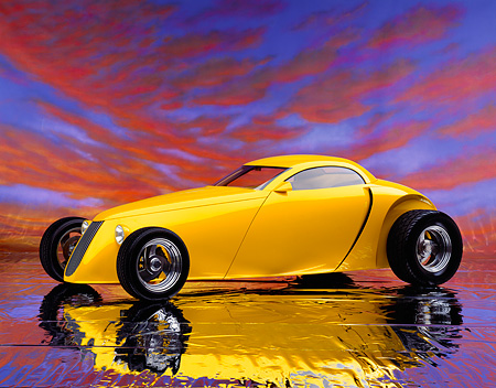 AUT 26 RK0060 07 © Kimball Stock Aluma Coupe Custom Yellow Hot Rod 3/4 Side View On Mylar Floor Sunset Clouds Background