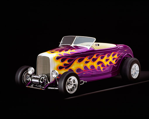 AUT 26 RK0100 05 © Kimball Stock 1932 Ford Hi Boy Roadster Purple With Flames 3/4 Front View