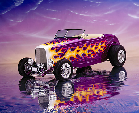 AUT 26 RK0102 05 © Kimball Stock 1932 Ford Hi Boy Roadster Purple Orange Flames 3/4 Front View On Mylar Floor Purple Clouds