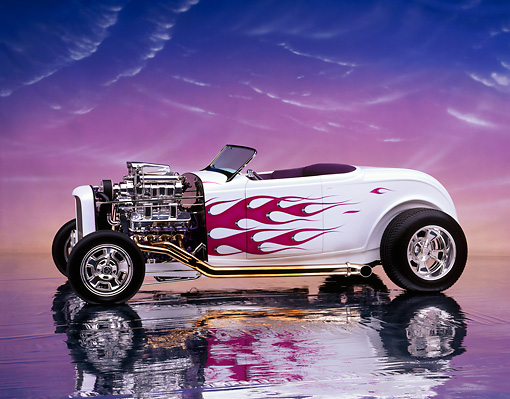 AUT 26 RK0105 04 © Kimball Stock 1932 Ford Hi Boy Roadster White Purple Flames Profile View Engine Exposed Studio