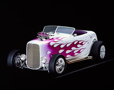 AUT 26 RK0106 10 © Kimball Stock 1932 Ford Hi Boy Roadster White Purple Flames 3/4 Front View Studio