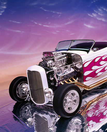 AUT 26 RK0109 01 © Kimball Stock 1932 Ford Hi Boy Roadster White Purple Flames Engine Exposed On Mylar Floor Studio