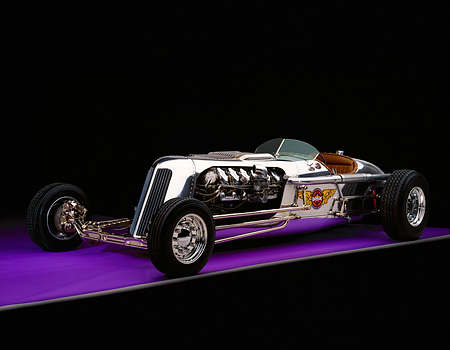 AUT 26 RK0271 08 © Kimball Stock Blastolene Special Concept Race Car 3/4 Front View On Purple Floor Gray Line Studio