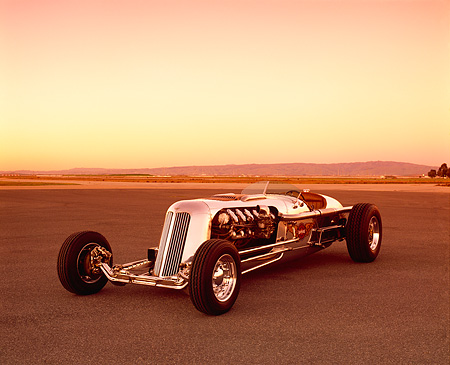AUT 26 RK0288 01 © Kimball Stock Blastolene Special Concept Race Car 3/4 Front View On Pavement Filtered