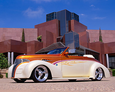 AUT 26 RK0313 07 © Kimball Stock 1939 Chevy Coupe Custom Convertible Cream And Gold