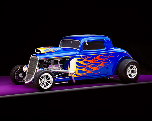 AUT 26 RK0343 04 © Kimball Stock 1934 Ford 3-Window Coupe Blue With Flames 3/4 Front View Studio