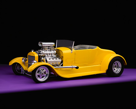 AUT 26 RK0344 04 © Kimball Stock 1927 Ford Roadster Yellow