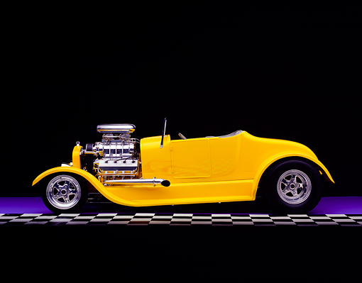 AUT 26 RK0347 02 © Kimball Stock 1927 Ford Roadster Yellow Side View On Purple Floor Checkered Line Studio