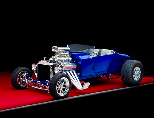 AUT 26 RK0349 07 © Kimball Stock 1927 T Ford Roadster Blue Side 3/4 View On Red Floor Gray Line Studio