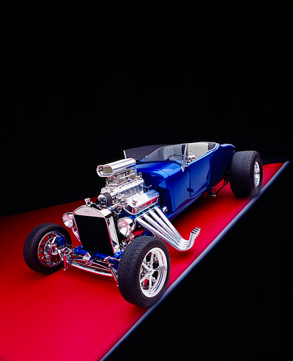 AUT 26 RK0350 14 © Kimball Stock 1927 T Ford Roadster Blue Wide Angle 3/4 Front View On Red Floor Gray Line Studio