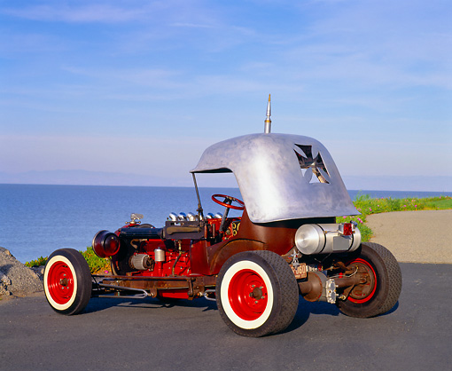 AUT 26 RK0371 03 © Kimball Stock 1919 Rat Rod 3/4 Rear View On Pavement By Water