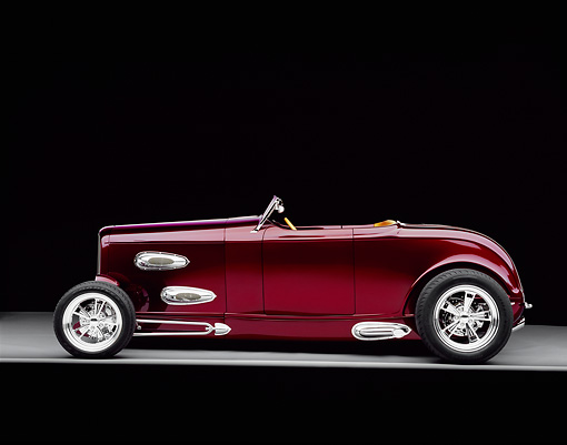 AUT 26 RK0403 10 © Kimball Stock 1932 Ford Custom Roadster Burgundy Profile On Gray Floor Studio