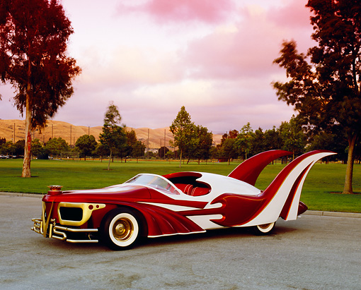 AUT 26 RK0447 02 © Kimball Stock 1996 Elvis Presley Tribute Car 3/4 Front View On Pavement By Grass Filtered