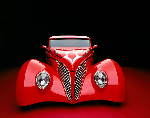 AUT 26 RK0487 01 © Kimball Stock 1939 Ford Coupe Red With Flames Head On View Studio