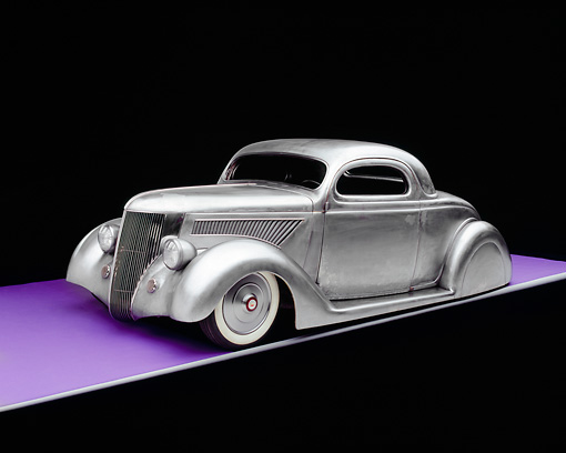 AUT 26 RK0505 05 © Kimball Stock 1936 Ford Cole Foster 3 Window Coupe Raw Metal 3/4 Side View On Purple Floor Gray Line Studio