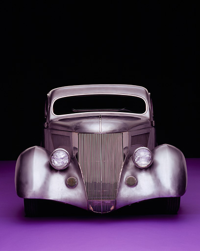 AUT 26 RK0506 10 © Kimball Stock 1936 Ford Cole Foster 3 Window Coupe Raw Silver Head On Shot On Purple Floor Studio