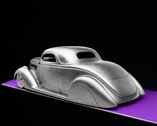 AUT 26 RK0507 09 © Kimball Stock 1936 Ford Cole Foster 3 Window Coupe Raw Metal 3/4 Rear View On Purple Floor Gray Line Studio