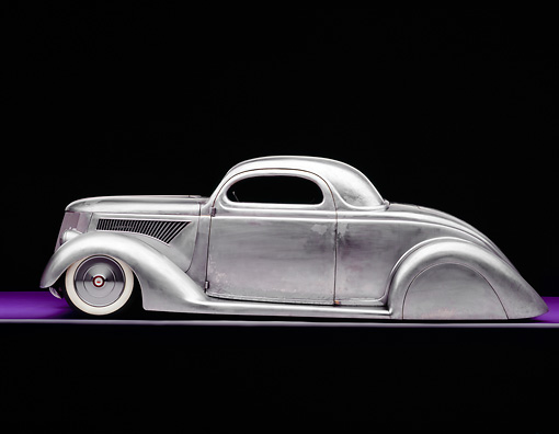 AUT 26 RK0509 01 © Kimball Stock 1936 Ford Cole Foster 3 Window Coupe Raw Metal Profile View On Purple Floor Studio