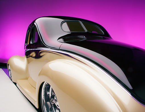 AUT 26 RK0556 01 © Kimball Stock 1940 Ford Deluxe Opera Coupe Purple And Champagne 3/4 Rear View Studio