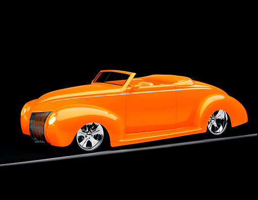 AUT 26 RK0595 05 © Kimball Stock 1939 Ford, Deluxe, Convertible, Orange 3/4 Side View On Gray Line Studio